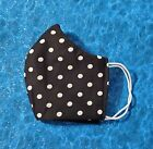 Washable Handmade Fabric Face Mask filter pocket BLACK WITH WHITE POLKA DOTS