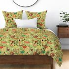Brown Animals Flowers Floral Texture 50S Sateen Duvet Cover by Roostery image