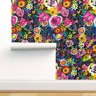 Removable Water-Activated Wallpaper Colorful Floral Bright Flower Nursery Decor