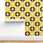 Removable Water-Activated Wallpaper Geometric Pattern Flower Mid Century Modern