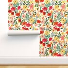 Removable Water-Activated Wallpaper Botanical Flowers Flower Nature Plant