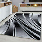 PARMA MODERN GEOMETRIC 3D SOFT BLACK GREY RED BROWN PURPLE NON SHED RUG RUNNER