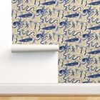 Removable Water-Activated Wallpaper Steampunk Blue Khaki Nautical Sea Submarine