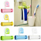 US Plastic Tube Toothpaste Dispenser Rolling Squeezer Wall Mounted Suction Cup