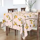 Tablecloth Chinoiserie Citrus Tree Branches Fruit Leaves Butterfly Cotton Sateen