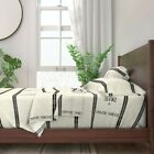 Feed Sack Grainsack Off White Off Black 100% Cotton Sateen Sheet Set by Roostery image