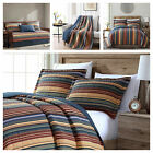 Pre-Washed 100% Cotton Quilt Set Multi-Striped Reversible Bedspread Coverlet image