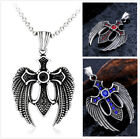 Punk Stainless Steel Winged Cross 3 Colour Stone Feather Pendant Vintage Jewelry