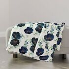 Throw Blanket Blueberry Florals Watercolor Wedding Blue Floral Flowers 48 x 70in