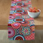 Table Runner Asian Inspired Bright Mandalas Funky Circle Abstract Cotton Sateen