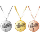 Stainless Steel Month Birth Flower Pendant Choker Necklace Birthday Gift Jewelry