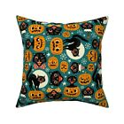 Retro Halloween Black Cats Throw Pillow Cover w Optional Insert by Roostery