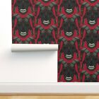 Peel-and-Stick Removable Wallpaper Red Skull Halloween Horror Scary Demonic
