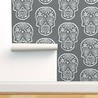 Removable Water-Activated Wallpaper Sugar Skulls Chalkboard Halloween Scary Dia