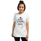 Keep Calm and Run T-shirt Funny women Comic panic running tshirt