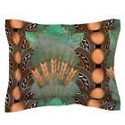 Beer Art Deco Hops Bottle Caps Teal Copper And Barley Pillow Sham by Roostery