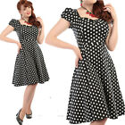 COLLECTIF MIMI BLACK & WHITE POLKA DOT DRESS VINTAGE  ROCKABILLY 50'S SIZE 8