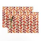 Cloth Placemats Nature Fall Leaves Autumn Abstract Geometric Set of 2