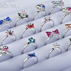 Christmas Costume Jewellery Girl Child Adjustable Kids Ring Set Crystal Ringss