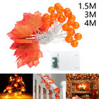 LED Pumpkin Maple Leaves Garland String Lights Party Decoration Fairy Light UK