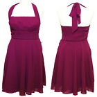 RADIANT PURPLE CHIFFON HALTER NECK BRIDESMAID DRESS PROM WEDDING SIZE 12 14