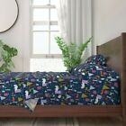 Woodland Beer Deer Trees Forest Winter 100% Cotton Sateen Sheet Set by Roostery