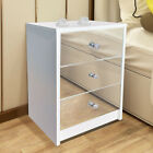 'Mirrored Glass Bedside Table Cabinet 3 Drawers And Crystal Handles Bedroom Unit