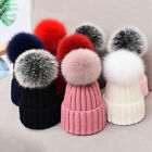 Women Winter Cute Knitted Beanie Cap Hat with Real Fox Fur Pompom Warm New