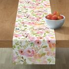 Table Runner Pink Floral Blush Nursery Decor Watercolor Flora Cotton Sateen