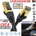 Cat 8 Ethernet RJ45 Cable Super Speed 40Gbps Patch LAN Network Gold Plated Lot