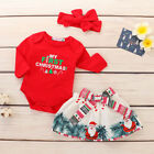 Newborn Baby Girls Christmas Top Romper Pants Headband Outfit Clothes 3Pcs Sets