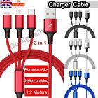3 in 1 Multi USB Phone Charger Cable For iPhone Android Charging Nylon Braided