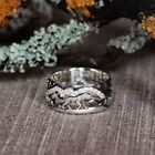 1pcs Women's Vintage Silver Wolf In Forest Punk Ring Couple Jewelry Size 6-11