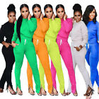 Solid Two Piece Set Top and Pants with Foot Zipper Tracksuit Women Leisure Suit
