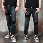 NewStylish Mens Contrast accent washed black slim jeans