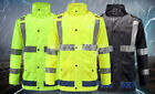 Hi-Vis Class 3 Safety Jacket Neon Reflective Rain Coat With Pants Safety Suit