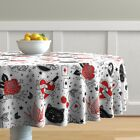 Round Tablecloth Tattoo Red Hearts Pattern Flash Rockabilly Rock Cotton Sateen