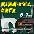 Black White Cable Clips Nail-In Tidy Wall Tacks Fixings Wire Flex Leads...