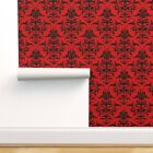 Removable Water-Activated Wallpaper Damask Red Black Richelieu Sexy Boudoir