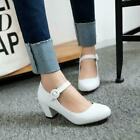 Womens Mary Jane Chunky Heels Buckle Strap Shoes Casual Pumps new