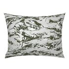 Snow Tiger Stripe Camo Pillow Sham by Roostery