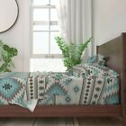 Aztec Oriental Duck Egg Teal Taupe 100% Cotton Sateen Sheet Set by Roostery