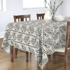 Tablecloth Paisley Pattern Black Cream Traditional Farmhouse Cotton Sateen