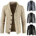 Mens Chunky Knit Cardigan Sweater Open Front Button Up Warm Coat Outwear Casual