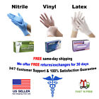 GLOVES NITRILE 10-20 -50 -100 - 1000 VINYL + LATEX POWDER FREE {S-M-L-XL} EXAM