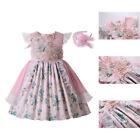 Pink Spanish Girl Princess Dress Kids Embroidery Formal Party Dresses Summer US