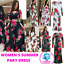 Women's Floral Print Short Sleeve Long Maxi Summer Elegant Part Dress Hollow Out