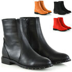 Womens Ankle Boots Studded Sole Flat Zip Up Ladies Chelsea Round Toe Booties