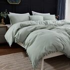 Andency Pom Pom Fringe Duvet Cover Full Size (79x90 Inch), 3 Pieces (1 Solid Yel