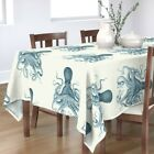 Tablecloth Blue Octopus Ocean Cephalopod Tentacles Squid Nautical Cotton Sateen
